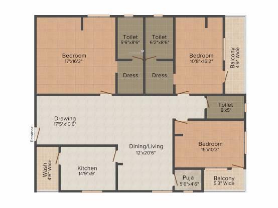 Lahari Tilak Nagar (3BHK+3T (2,140 sq ft) Apartment 2140 sq ft)