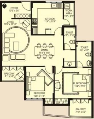 Plama Icon (2BHK+2T (1,395 sq ft) Apartment 1395 sq ft)