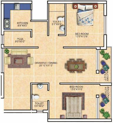 PDN Exotica (2BHK+2T (1,630 sq ft) + Pooja Room Apartment 1630 sq ft)