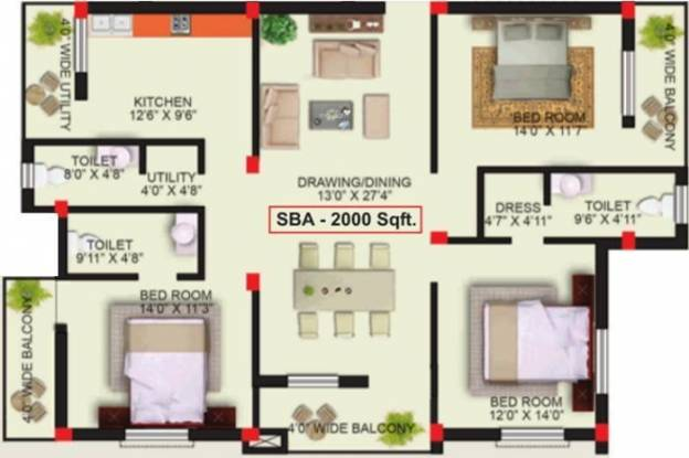 PDN Imperial (3BHK+3T (2,000 sq ft) Apartment 2000 sq ft)