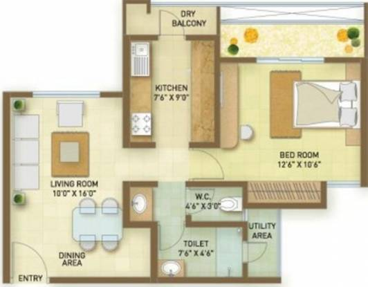 Indiabulls Greens (1BHK+1T (742 sq ft) Apartment 742 sq ft)