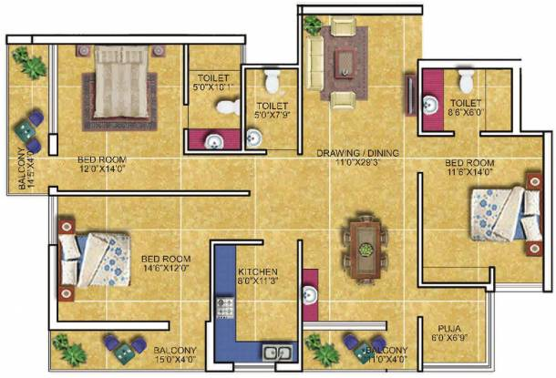 PDN Exotica (3BHK+3T (1,830 sq ft) Apartment 1830 sq ft)