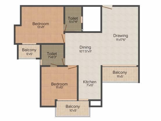 River Vrindavan Green (2BHK+2T (1,190 sq ft) Apartment 1190 sq ft)