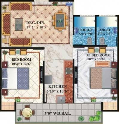 V3s Indralok (2BHK+2T (1,150 sq ft) Apartment 1150 sq ft)