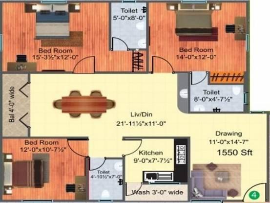 Shamshiri Premia Urbana (3BHK+3T (1,550 sq ft) Apartment 1550 sq ft)