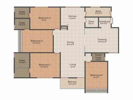 Maruti The Serenade (3BHK+3T (3,000 sq ft) Apartment 3000 sq ft)