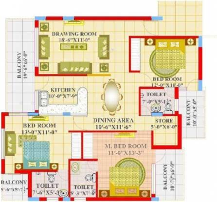 Maple Apartments (3BHK+3T (1,816 sq ft) Apartment 1816 sq ft)
