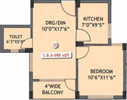 Essen MM Balianta Enclave (1BHK+1T (686 sq ft) Apartment 686 sq ft)