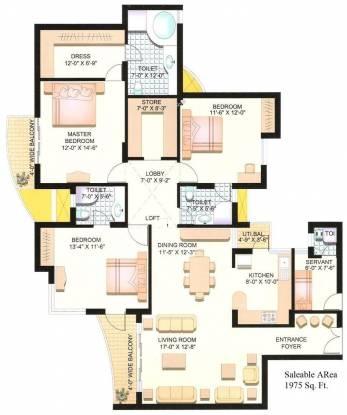 Parsvnath Planet (3BHK+4T (1,975 sq ft) + Servant Room Apartment 1975 sq ft)