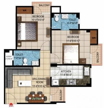 Rudra Enclave (2BHK+2T (820 sq ft) Apartment 820 sq ft)