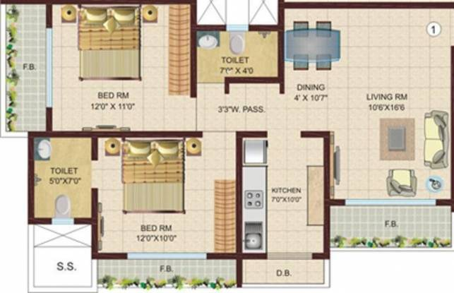 DV Fressia NX (2BHK+2T (950 sq ft) Apartment 950 sq ft)