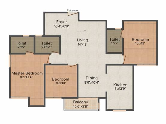 Lifestyle Lifestyle Orchid (3BHK+2T (1,434 sq ft) Apartment 1434 sq ft)