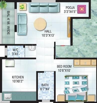 Rajmudra Classic (1BHK+1T (635 sq ft) + Pooja Room Apartment 635 sq ft)