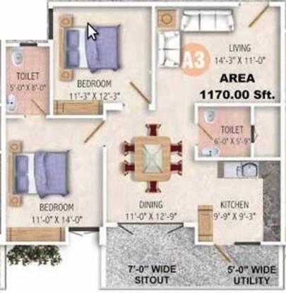 Sandeep Kolimi Heights (2BHK+2T (1,170 sq ft) Apartment 1170 sq ft)