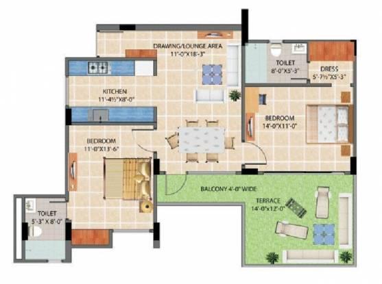 Harbinger Lounge (2BHK+2T (1,360 sq ft) Apartment 1360 sq ft)