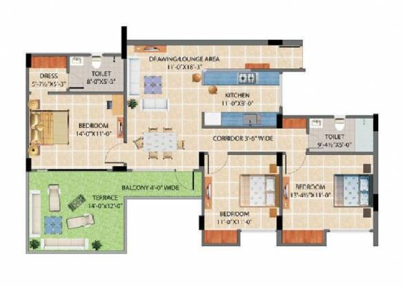 Harbinger Lounge (3BHK+3T (1,676 sq ft) Apartment 1676 sq ft)