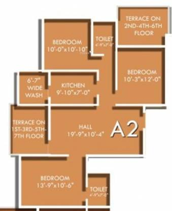 SDPL Paradise (3BHK+2T (1,275 sq ft) Apartment 1275 sq ft)
