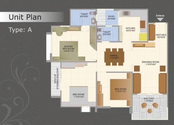 Essarjee South Block (3BHK+2T (1,140 sq ft) Apartment 1140 sq ft)