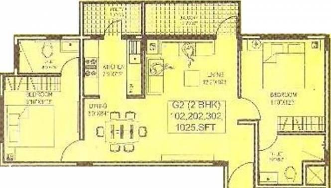 Enarch Symphony (2BHK+2T (1,025 sq ft) Apartment 1025 sq ft)