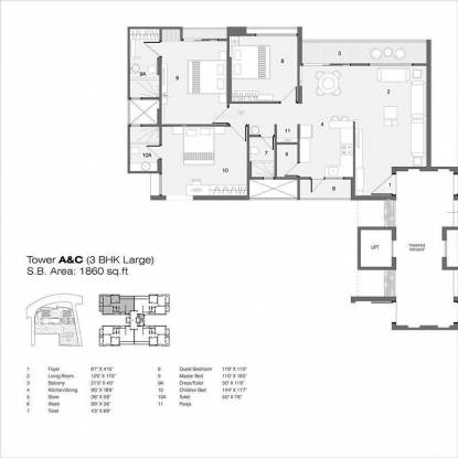 Nilamber Nilamber Bellissimo (3BHK+3T (1,860 sq ft) Apartment 1860 sq ft)