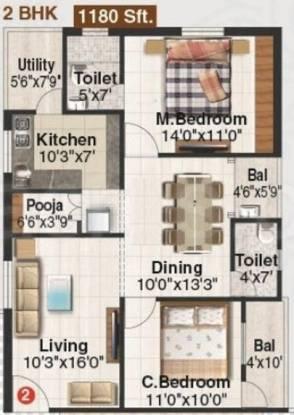 Orange Tangrilla Homes (2BHK+2T (1,180 sq ft) Apartment 1180 sq ft)