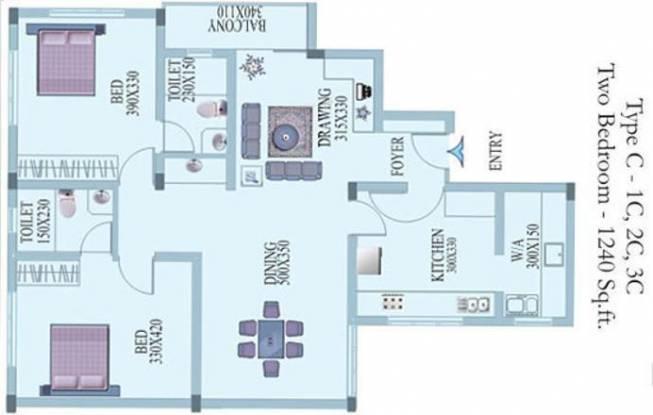 Creations Lavanya Apartments (2BHK+2T (1,240 sq ft) Apartment 1240 sq ft)