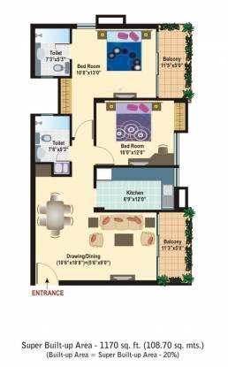 Manglam Rangoli Gardens (2BHK+2T (1,170 sq ft) Apartment 1170 sq ft)