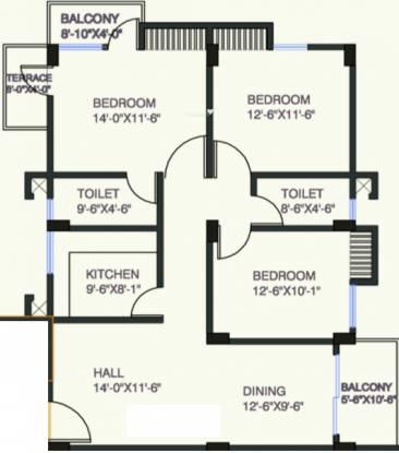 Uttarayan Prestige (3BHK+3T (1,420 sq ft) Apartment 1420 sq ft)