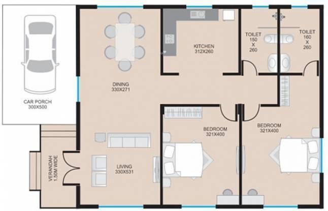 Saldanha Bougain Villas (2BHK+2T (996 sq ft) Villa 996 sq ft)