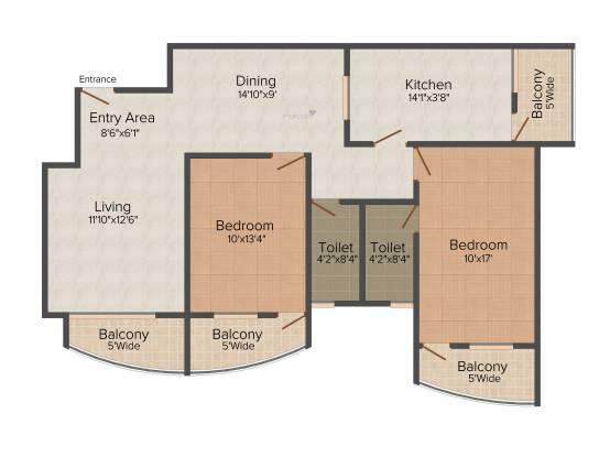 Raj Raj Excellency (2BHK+2T (1,206 sq ft) Apartment 1206 sq ft)