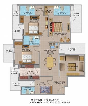 Hanumant Bollywood Heights 2 (3BHK+4T (2,260 sq ft) Apartment 2260 sq ft)