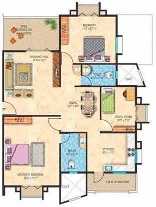 Maxx Sanman B (2BHK+2T (1,500 sq ft) + Study Room Apartment 1500 sq ft)
