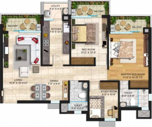 Janta Sky Gardens (2BHK+2T (1,164 sq ft) Apartment 1164 sq ft)