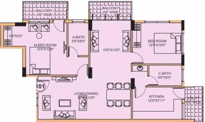 Rohan Daijiworld Residency (2BHK+2T (1,390 sq ft) Apartment 1390 sq ft)