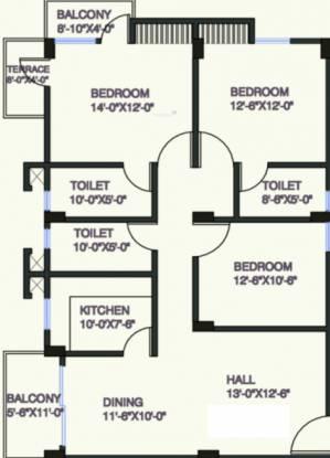 Uttarayan Prestige (3BHK+3T (1,560 sq ft) Apartment 1560 sq ft)