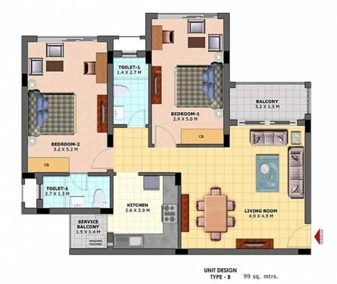 Highland Vistas (2BHK+2T (1,066 sq ft) Apartment 1065.63 sq ft)