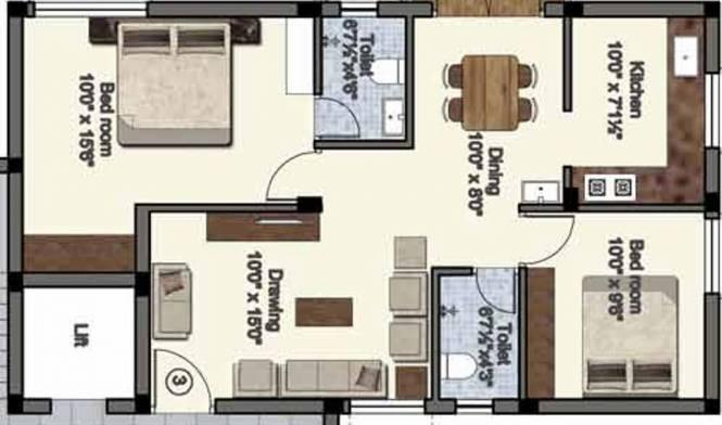 Abhinitha Sri Krishna Vikas (2BHK+2T (1,090 sq ft) Apartment 1090 sq ft)
