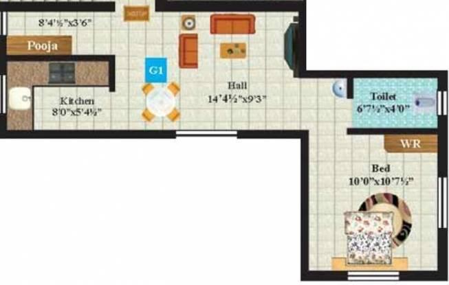 Anandam Platinum (1BHK+1T (523 sq ft) Apartment 523 sq ft)