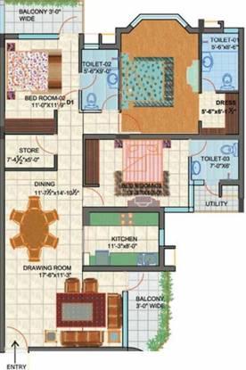 Chinar Chinar Apartments (3BHK+3T (1,950 sq ft) Apartment 1950 sq ft)