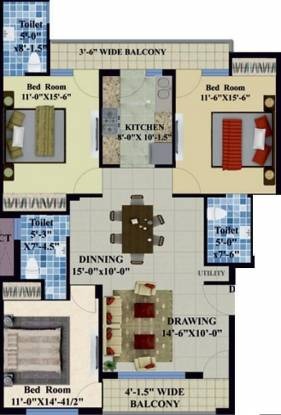 Hanumanta Sunshine (3BHK+3T (2,200 sq ft) Apartment 2200 sq ft)