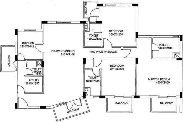 Unitech Gardens (3BHK+4T (2,027 sq ft) Apartment 2027 sq ft)
