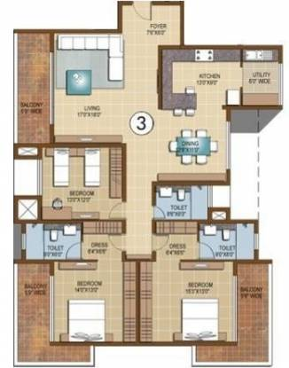Sterling Infinia (3BHK+3T (2,566 sq ft) Apartment 2566 sq ft)