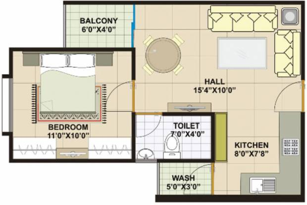 Vastu Platinum Paradise Tower (1BHK+1T (595 sq ft) Apartment 595 sq ft)