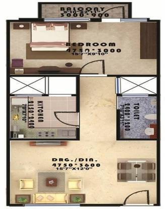 Seac Kuber Heights (1BHK+1T (731 sq ft) Apartment 731 sq ft)