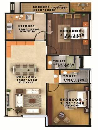 Seac Kuber Heights (2BHK+2T (950 sq ft) Apartment 950 sq ft)