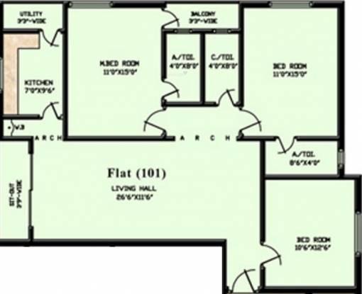 Trust Times Enclave (3BHK+3T (1,461 sq ft) Apartment 1461 sq ft)