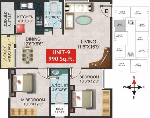Balaji Vajraa (2BHK+2T (990 sq ft) Apartment 990 sq ft)