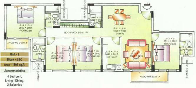 DLF Beverly Park II (4BHK+4T (1,696 sq ft) Apartment 1696 sq ft)