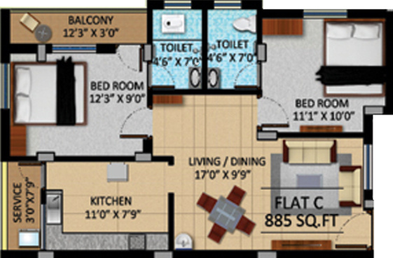 APR Pearl Park (2BHK+2T (885 sq ft) Apartment 885 sq ft)