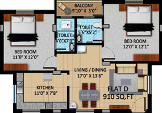 APR Pearl Park (2BHK+2T (910 sq ft) Apartment 910 sq ft)